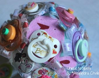 Custom totally handmade baby shower bouquet, baby birth bouquet, mother's bouquet. Brooch bouquet for babyshower.