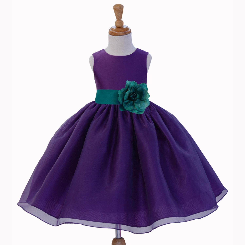 Purple Organza Flower Girl dress tie sash by ekidsbridalusa