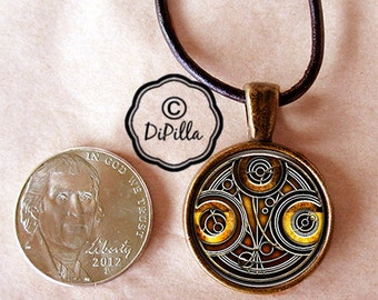 Dr Who Time Lord Gallifreyan RESIN Poured 20mm Pendant with Leather Cord