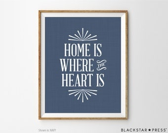 Home Sweet Home print, Home Decor print, Inspirational Print, Home is where the heart is quote, Inspirational Wall Decor