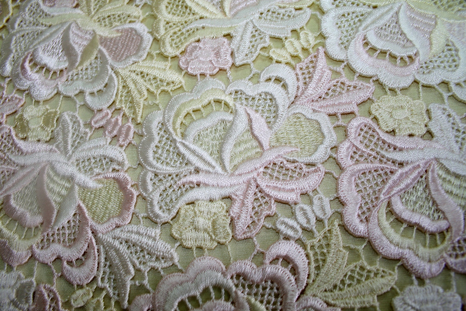Pastel Shades Guippure Lace Fabric Yellow Ivory Pink High