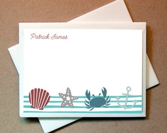 Sea Shore Personalized Note Cards (25 cards and envelopes)