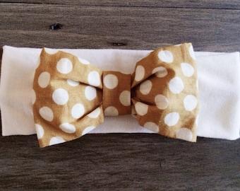 Newborn Headband - Cotton Knit with Mustard Yellow Polka Dot Bow