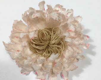Linen fabric flower brooch crafted entirely by Hand-made