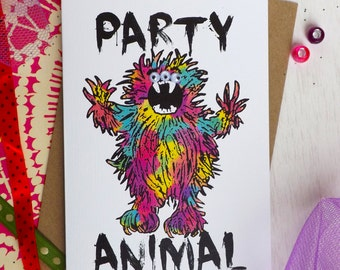 Party Animal Googly Eye A6 Greeting Card