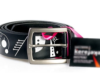 Black belt with white graphics
