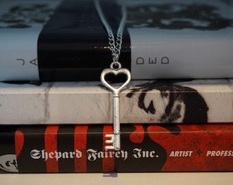 Vintage Silver Heart Key Long Necklace