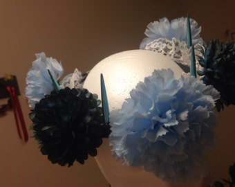 Blue Flower Crown - Pastel Goth Flower Crown - Carnation Spike Flower Crown
