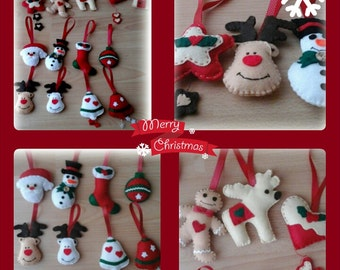 Christmas felt ornaments set of 5.