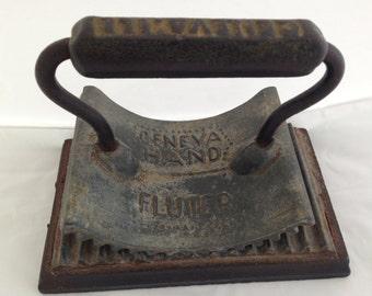 Antique Cast Iron Geneva Hand Fluter with Base