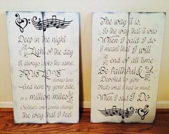 Song lyric set, matching music note sign set. Wedding song lyric sign
