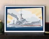 "HMS Dreadnought Great War 17""w x 11""h Print"