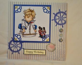 """handmade card card for boy OOAK card """"lil""""sailor boy"""