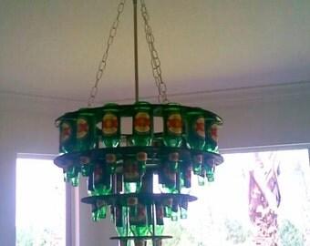 Handcrafted Beer Bottle Chandelier w/ light