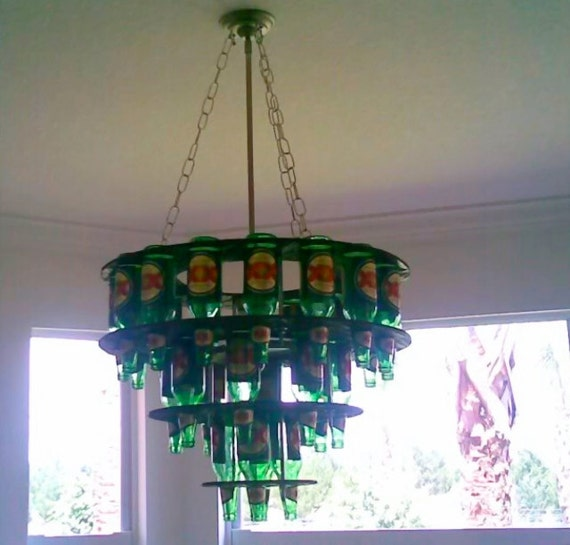 Bottle Chandelier Kit: Handcrafted Beer Bottle Chandelier W/ Light