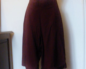 1980s High waisted, Wide leg Cropped pants / trousers Never Worn Nick Coleman - rich choclatey brown