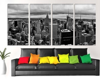 4 Piece Split B&W New York City skyline - Canvas Print of Black and White. NYC panorama print for home or wall office decor, interior design