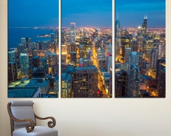 Chicago City Skyline Art Canvas Print - 3 Panel Split, Triptych. Cityscape Aerial Photography print for room wall decor, interior design