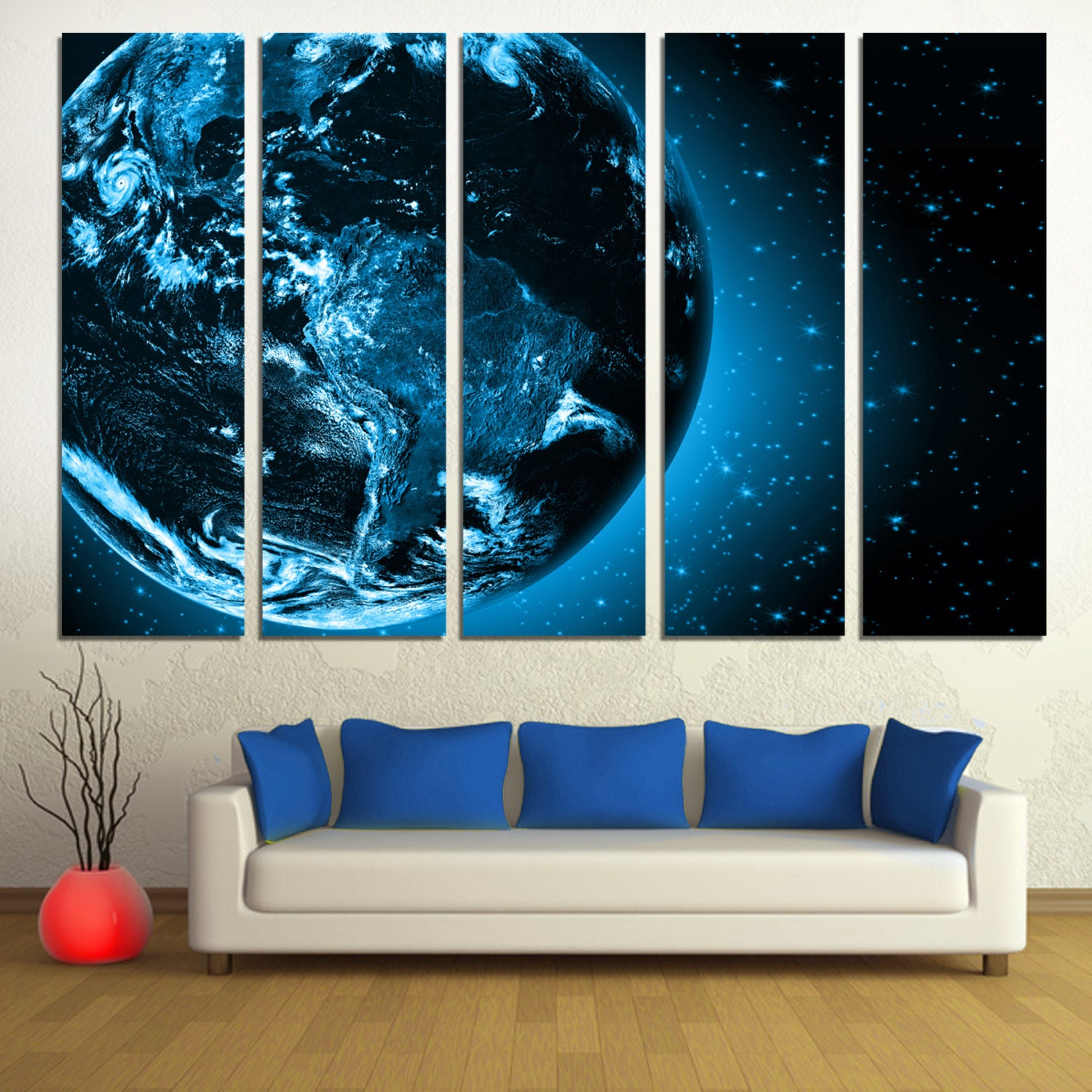 Wall Art Split Canvas : Dark blue earth from space panel split canvas print