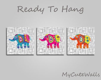 Cute Elephants Baby Wall Art 3 Piece Set for Girls Nursery Ready to Hang