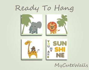 Jungle Animals Wall Art  For Baby Nursery 4 Piece Set Ready to Hang