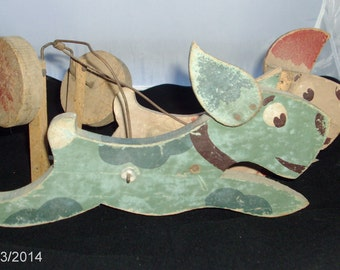French folk art dog pull toy