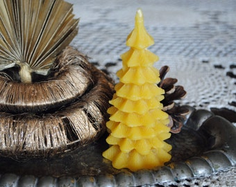 2 x Beeswax Christmas Tree Candle - Xmas, Christmas Table Centre Piece - Xmas Tree Beeswax Candle