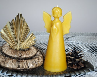 Beeswax Angel Candle - Xmas, Christmas Table Centre Piece - Angel Beeswax Candle
