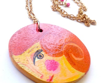 Illustrated wooden pendant. Illustrated woman portrait-mandala wooden necklace, handmade one of a kind