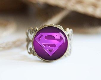 Super girl superhero 25mm adjustable ring, antique silver or antique bronze, cool jewelry