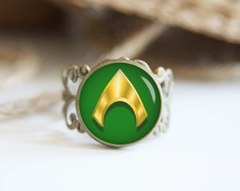 Aquaman superhero 25mm adjustable ring, antique silver or antique bronze, cool jewelry