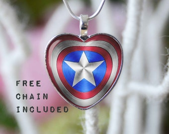 Heart shape Captain America necklace. Romantic gift pendant. Free matching chain is included.