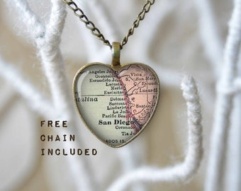 San Diego California heart shape map necklace. Romantic gift pendant. Free matching chain is included.