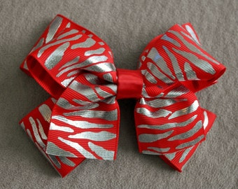 Holiday Red and Silver Zebra Hair Bow Clip