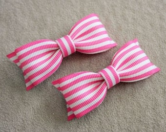 Set of Hot Pink & White Striped Hair Bow Clip