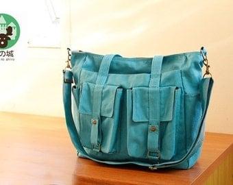 Sale 10% - Teal handbag, Diaper  bag, Shoulder bag, tote, Messenger bag, Brownie