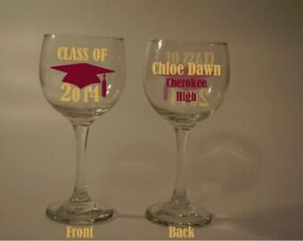 Class of 2014 2015 College School Graduation Grad Wine Glass Name/Wording personalized (Free)