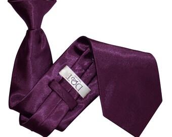 Satin Plum Clip On Tie