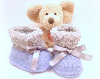 Gray and lavander handknitted baby booties 0/1 month Tricotmuse