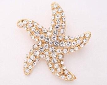 Starfish Brooch, Rhinestone Gold Beach Ocean Star Brooch, Beach Wedding Brooches, Starfish Bridal Brooch, Gold Bridesmaid Brooch Gift