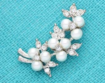 Pearl Rhinestone Brooch, Wedding Brooch, Bouquet Brooches, Pearl Bridal Brooch, Silver Crystal Brooches Wedding Crafts, Pearl Brooch