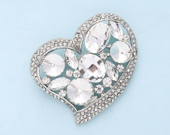 Rhinestone Heart Brooch Wedding Bridal Sash Crystal Silver Heart Broach Necklace Cake Broaches DIY Jewelry Heart Broaches