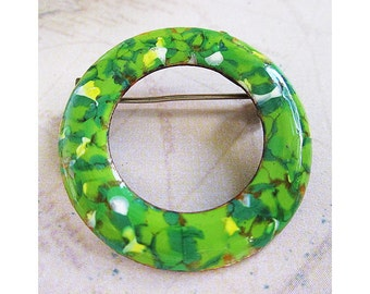 Green Enamel Circle Brooch, Enamel on Copper, 1960's, Green with Yellow and White, Enamel Circle Pin, Sixtie's Circle Brooch