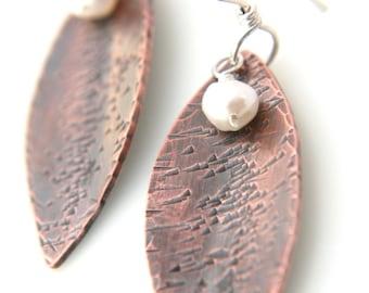 Chloe - green tea leaf copper dangle earrings