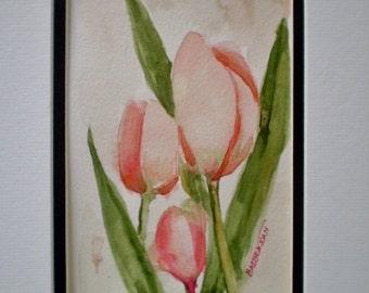 Tulip watercolor painting, original watercolor , Spring painting, watercolor flower painting