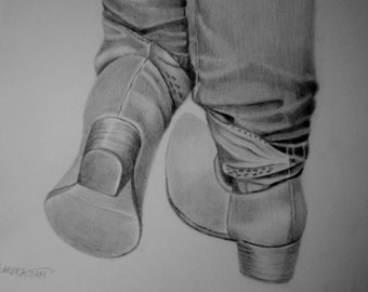 Western Art,  Western boot drawing, original graphite  pencil drawing, Fathers Day