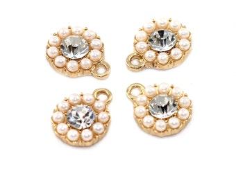 Crystal Bead Pearl Art Deco Dainty Crystal Rhinestone Pendant Jewelry Making DIY Crafts