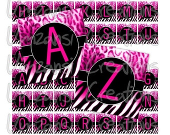 Digital Collage Sheet 1 inch squares - Printable Digital Sheet - Hot Pink Zebra Leopard Alpha