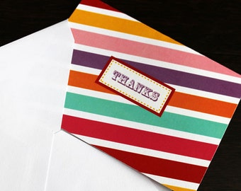 Thank You Card - Multi colored | Striped Thank You Card | Candyland Thank You CArd
