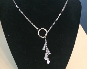 "24"" Silver Iridescent Crystal Drop Lariat Necklace"